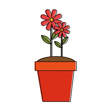 ポットベクターイラストデザインで栽培された平らな美しい花