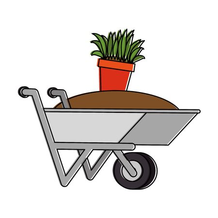 Illustration of wheelbarrow with ground and pot