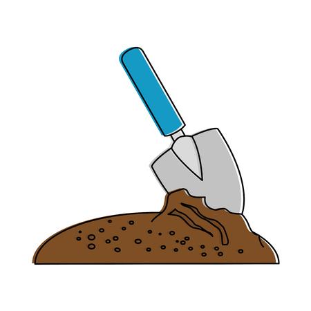 gardening shovel with ground vector illustration design
