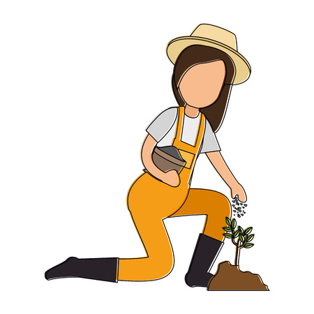 Illustration of woman gardener planting avatar character