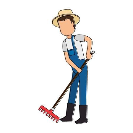 Illustration de jardinier homme avec le râteau avatar personnage Banque d'images - 95159267