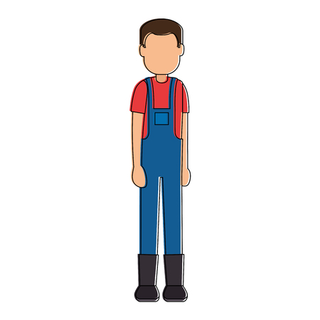 Illustration of man gardener with overalls avatar character