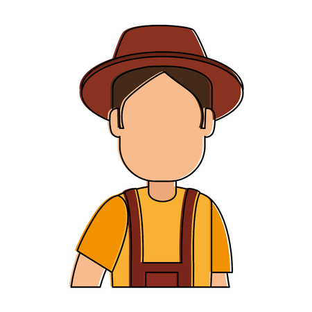 man gardener with overalls and hat avatar character vector illustration design 版權商用圖片 - 95283899