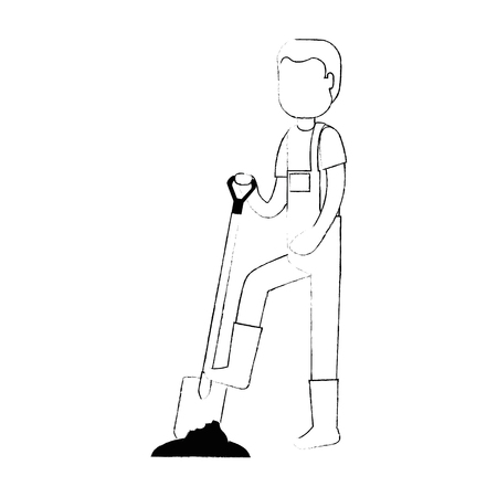 Man gardener with shovel avatar character vector illustration design.