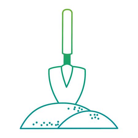 Gardening shovel with ground vector illustration design.