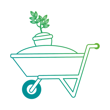 Wheelbarrow with ground and pot vector illustration design.