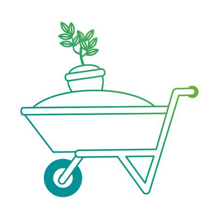 Wheelbarrow with ground and pot vector illustration design.