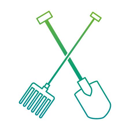 Gardening shovel and rake isolated icon vector illustration design.