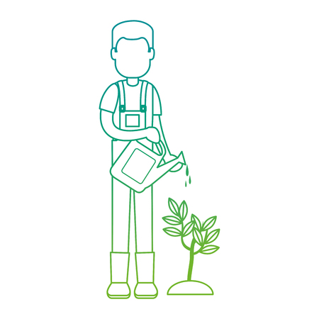 Man gardener with sprinkler avatar character vector illustration design