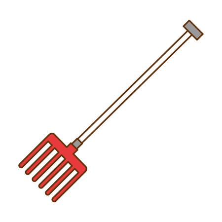 Illustration of gardening rake isolated icon