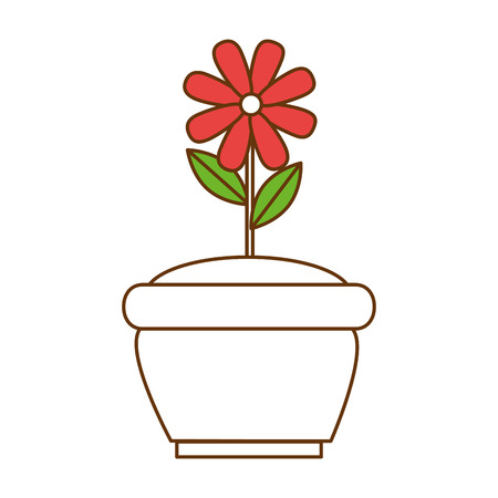 Flat beautiful flower cultivated in pot vector illustration design