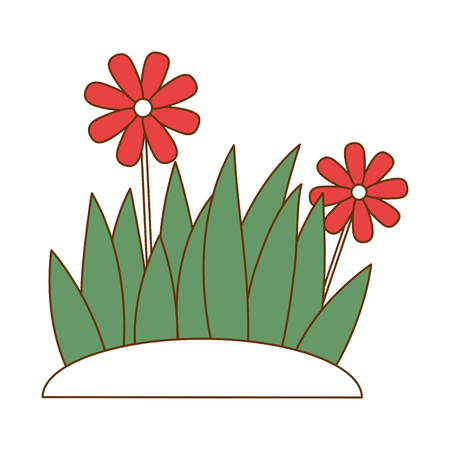 Flat beautiful flower cultivated icon vector illustration design Çizim