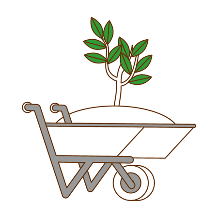 Flat wheelbarrow with ground and plant icon vector illustration design