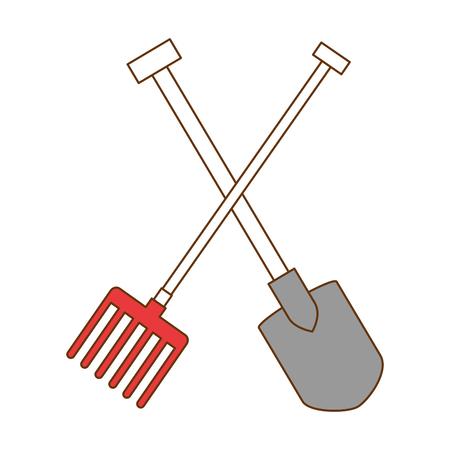 Flat gardening shovel and rake isolated icon vector illustration design