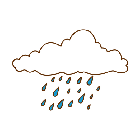 Flat weather cloud rainy icon vector illustration design