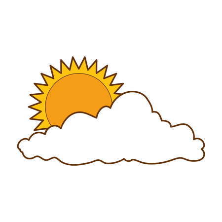 Flat summer sun with clouds vector illustration design