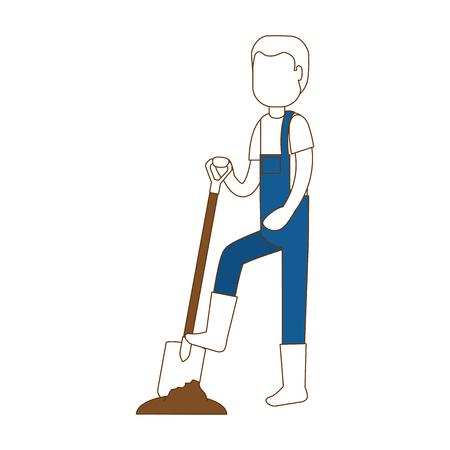 Flat man gardener with shovel avatar character vector illustration design