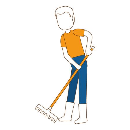 Flat man gardener with rake avatar character vector illustration design