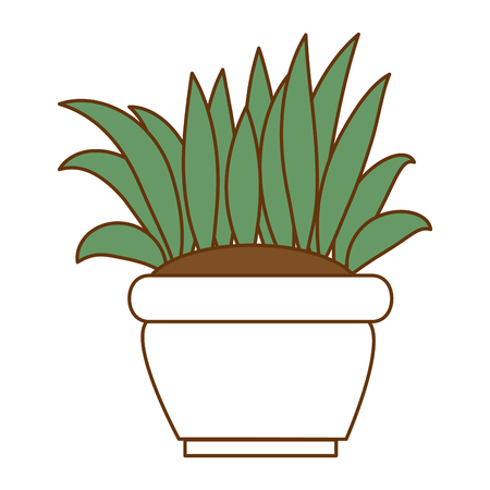 Flat bush cultivated in pot vector illustration design