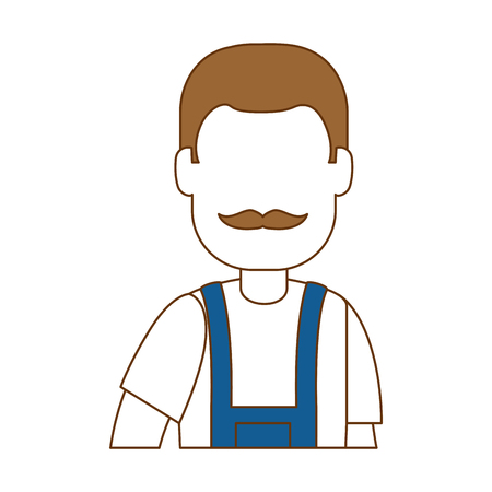 Flat man gardener with overalls avatar character vector illustration design