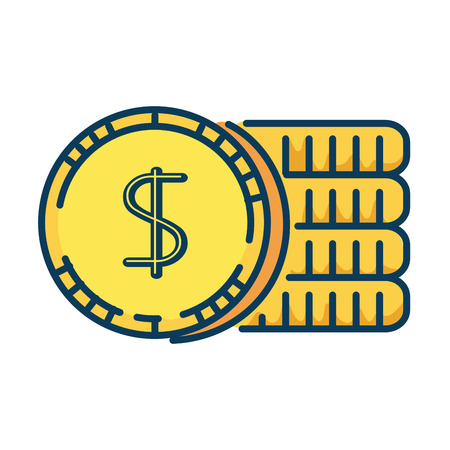 Flat coins money isolated icon vector illustration design