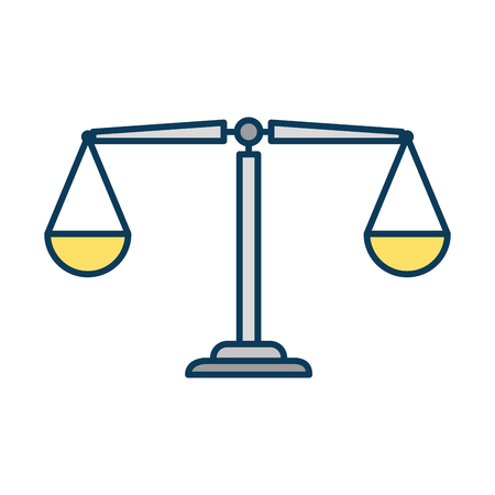 Flat justice scale isolated icon vector illustration design