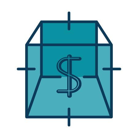 Cube with dollar symbol vector illustration design