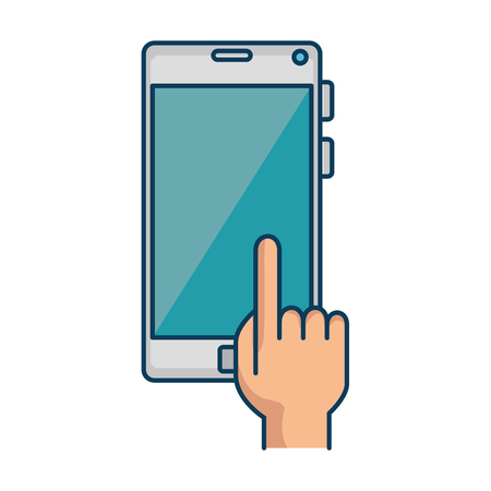 Hand user with smartphone device isolated icon vector illustration design