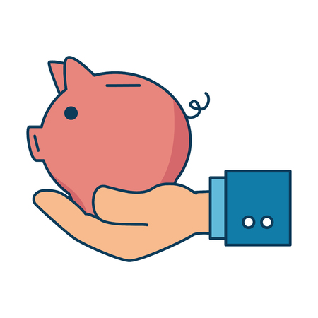 Hand with piggy savings vector illustration design
