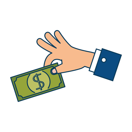 Hand with bill dollar money icon vector illustration design