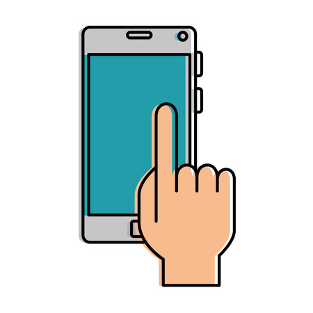 hand user with smartphone device isolated icon vector illustration design Illustration