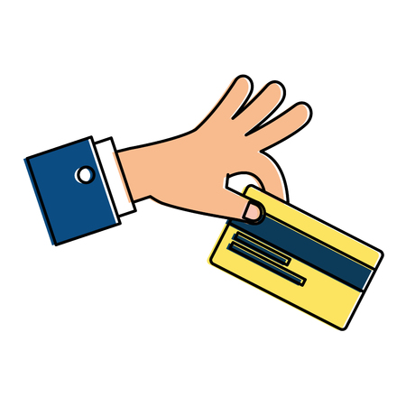 Hand with credit card isolated icon vector illustration design. Illustration