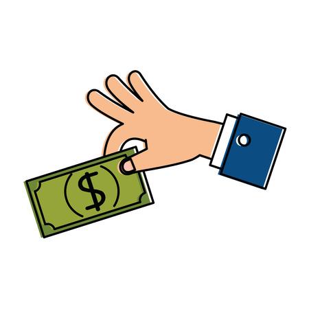 Hand with bill dollar money icon vector illustration design. Çizim
