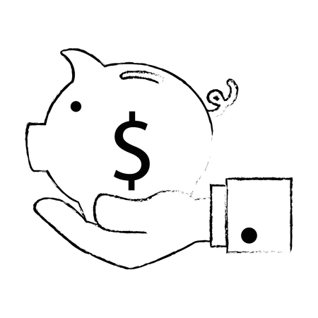 Hand with piggy savings vector illustration design.