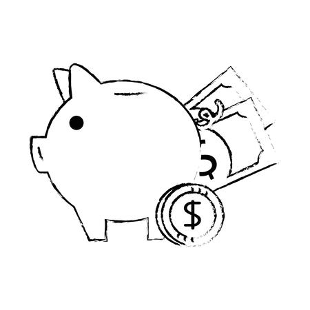 Piggy Einsparungen mit Rechnungen und Münzen Vektor-Illustration Design Standard-Bild - 95055102