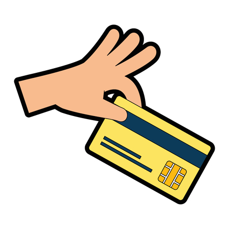Hand with credit card isolated icon vector illustration design