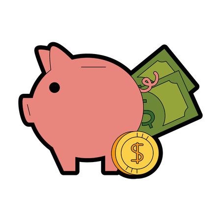 Piggy Einsparungen mit Rechnungen und Münzen Vektor-Illustration Design Standard-Bild - 95055590