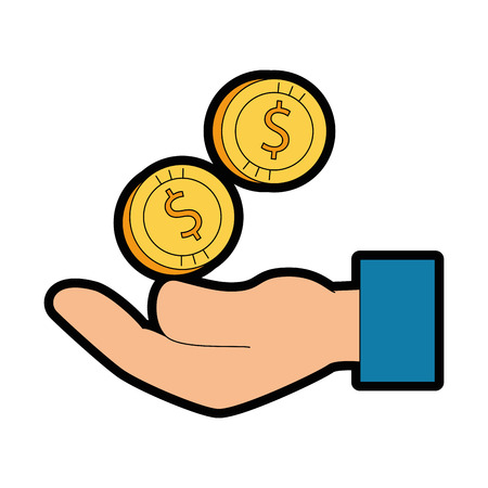 Hand with coin money isolated icon vector illustration design 写真素材 - 95056383