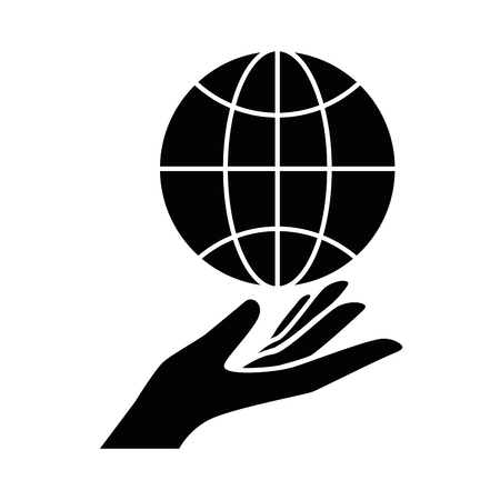 Sphere planet with hand human vector illustration design.