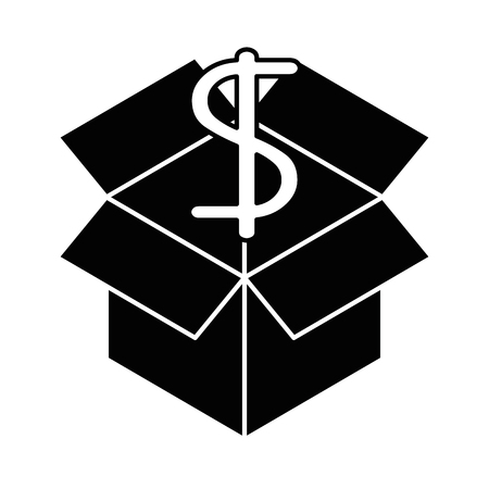 Cube with dollar symbol vector illustration design.
