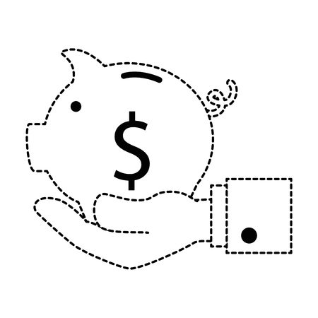hand with piggy savings vector illustration design Illustration
