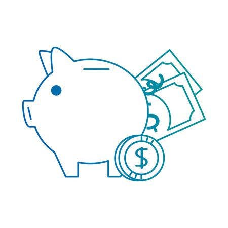 Piggy Einsparungen mit Rechnungen und Münzen Vektor-Illustration Design Standard-Bild - 95057958