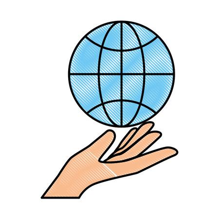 sphere planet with hand human vector illustration design Illustration