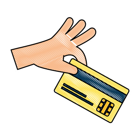 hand with credit card isolated icon vector illustration design Illustration