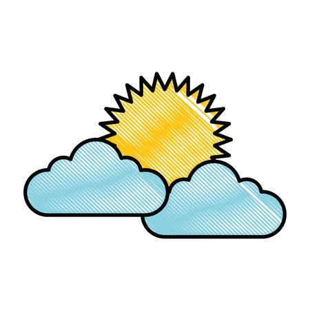 sol de verano con nubes ilustración vectorial de diseño