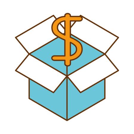 cube with dollar symbol vector illustration design  イラスト・ベクター素材
