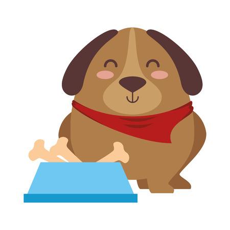 Cute dog with dish bowl and bones vector illustration design Illustration
