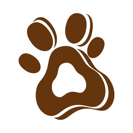 犬の足跡隔離されたアイコンベクトルのイラストの設計