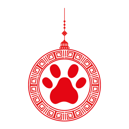 Chinese ornament hung with footprint vector illustration design Illustration
