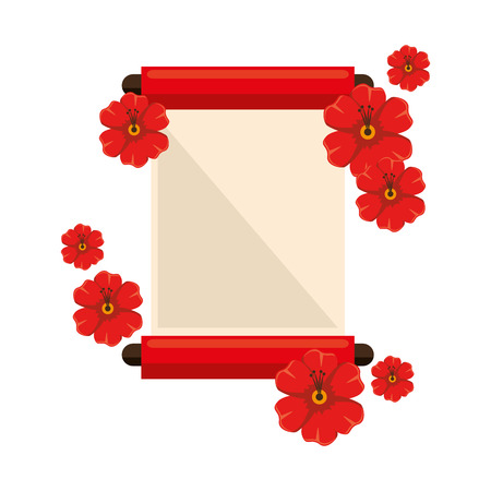 chinese papyrus with flowers vector illustration design